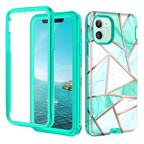 Hekodonk Compatible iPhone 11 Case Built in Screen Protector Heavy Duty High Impact Hard PC TPU Bumper Full Body Protective Shockproof Anti-Scratch Cover for Apple iPhone 11-Marble Mint