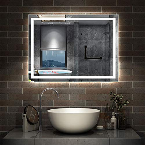 AicaSanitär Wandspiegel 80×60cm Wandschalter Antibeschlag Badspiegel mit Beleuchtung Lichtspiegel Badezimmerspiegel IP44 Kaltweiß energiesparend