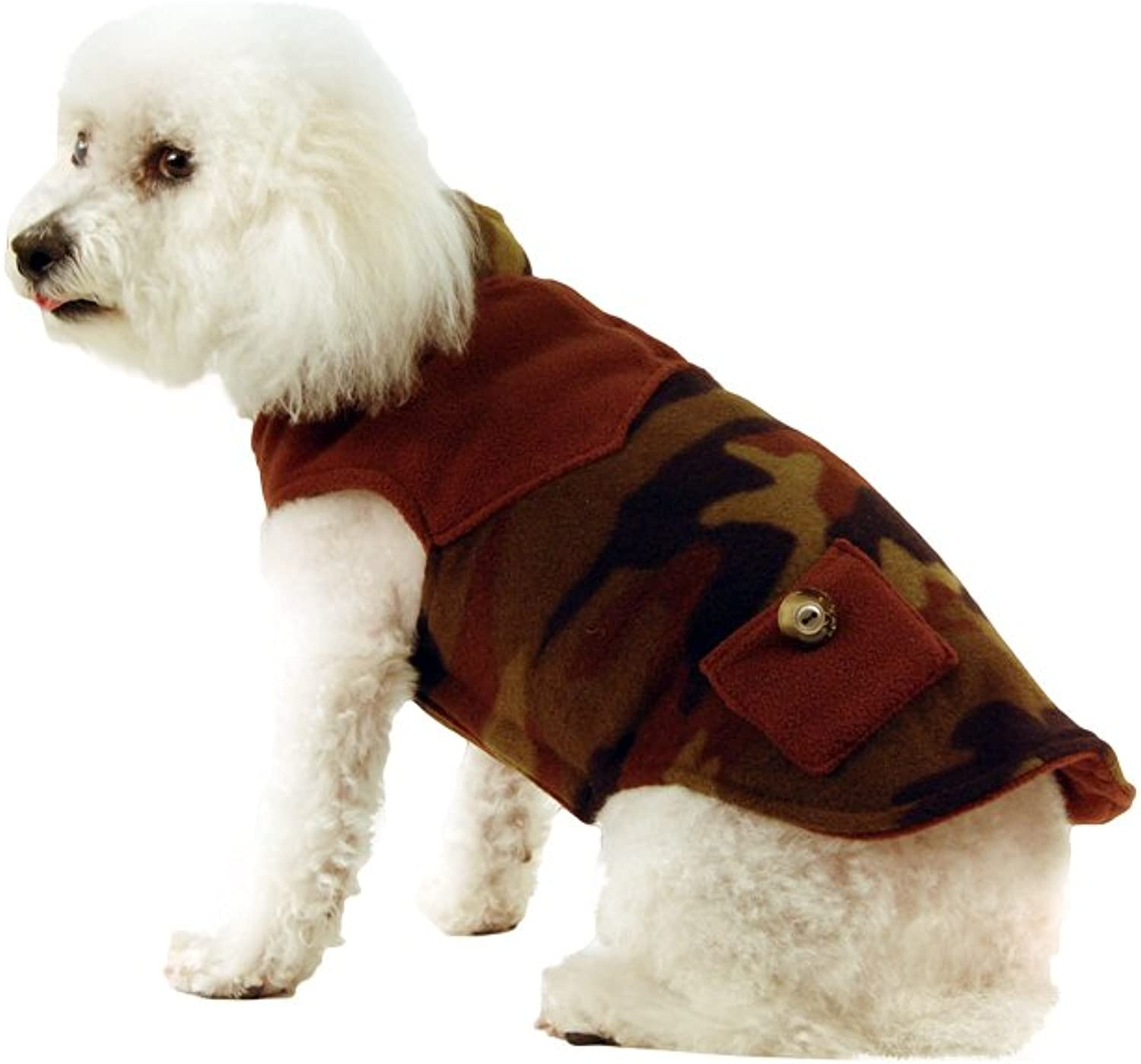 Doggy Wrappers Double Fleece Dog Coat with Pockets, 10, Camo