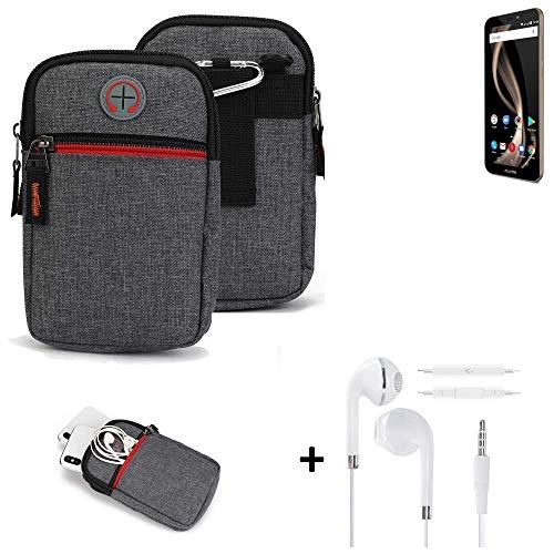 K-S-Trade® Gürtel-Tasche + Kopfhörer Für Allview X4 Soul Infinity Z Handy-Tasche Schutz-hülle Grau Zusatzfächer 1x