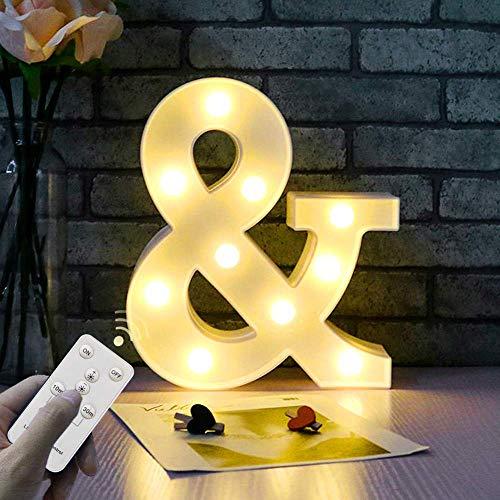 WHATOOK Letras Luminosas Decorativas con Luces LED, Letra A-Z con Mando a Distancia Regulable, Color...