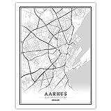 ZWXDMY Leinwand Bild,Dänemark Aarhus City Karte Schwarz