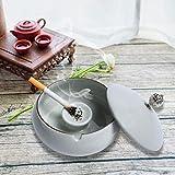 KATELUO Keramik Aschenbecher mit Deckel, Windaschenbecher für Draußen und Innen, Aschenbecher für Balkon/Terrasse/Zuhause/Büro Dekoration (hellgrau) - 2