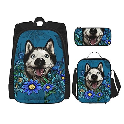 Rucksack mit sibirischem Husky-Motiv, für Jungen und Teenager, für Reisen, Tagesrucksack, Lunch-Tasche und Federmappe.
