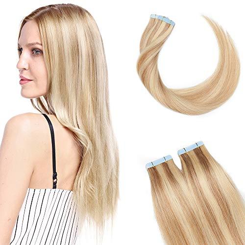 SEGO Extension Adhesive Naturel Extensions Bande Adhésif - 50 CM 18P613#Blond Centré Mèche Blond Blanchi [2.5g X 10 pcs] - Tie and Dye Ombre