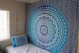 RAILONCH Multicolored Indischer Wandteppich Wandbehang Mandala Tuch Wandtuch Gobelin Tapestry Goa Indien Hippie-/ Boho Stil als Dekotuch/Tagesdecke (Blau, 210 * 150)