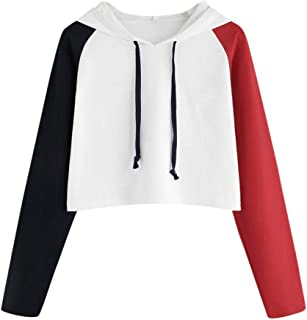 Women Teen Girls Crop Hoodie Fashion Color Block Long Sleeve Pullover Cute Autumn Winter Sweatshirts Tops