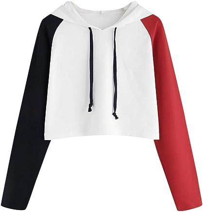 825d5efd48b Women Teen Girls Crop Hoodie Fashion Color Block Long Sleeve Pullover Cute  Autumn Winter Sweatshirts Tops
