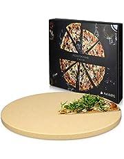 Navaris Pietra refrattaria per Cottura Pizza XL - per cuocere nel Forno di casa Pane Pizza focacce teglia Tonda 30,5 (Ø) Cottura Fino a 800° Cordierite