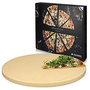 Navaris Piedra para pizza de cordierita – Piedra para horno redonda para pizza o pan – Bandeja para parrilla barbacoa o grill – XL 30.5CM
