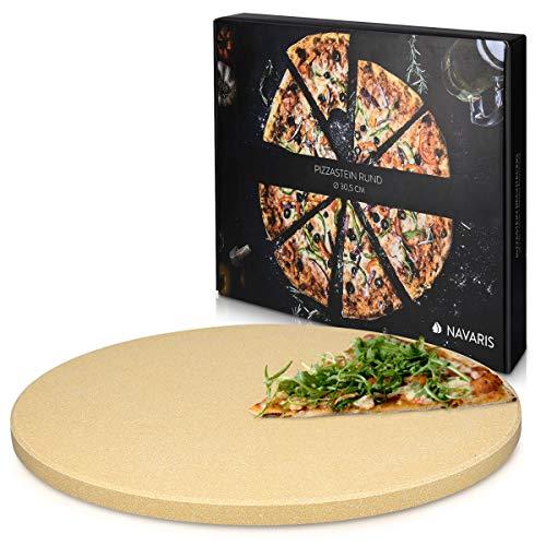 Navaris Pierre à Pizza pour Four XL - Pierre Pizza Ronde Ø 30,5 cm en Cordiérite - Pour Four Traditionnel au Bois Barbecue Grill et Charbon