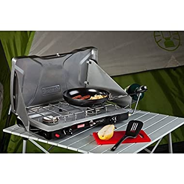 Coleman® Triton™+ Propane Stove Features Wind Block Panels, Instastart™ Ignition, 22,000 Total BTUs of Cooking Power, Perfect for Camping, Hunting, Tailgating & Other Outdoor Occasions