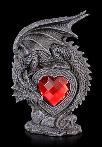 Gothic Drachen Figur - Laetificat mit rotem Herz | Geschenk Liebe Fantasy