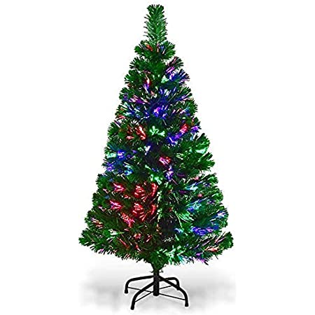 HMWD Multicolour Changing Lights Fibre Optic Tree 4ft//120cm Artificial Christmas Event Festival Seasonal Decoration Tree with Stand