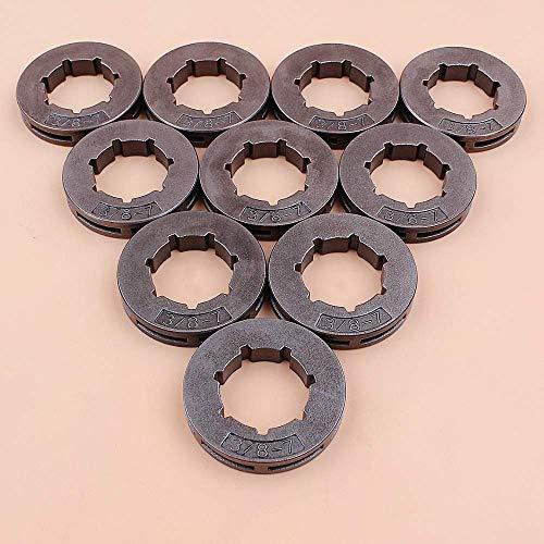 Llanta de piñón de embrague de 10 piezas 3/8'7T para HUSQVARNA 55 Rancher, 262XP, 257, 562XP 455 Rancher, 460 Rancher, 555 Motosierra Oregon 18720