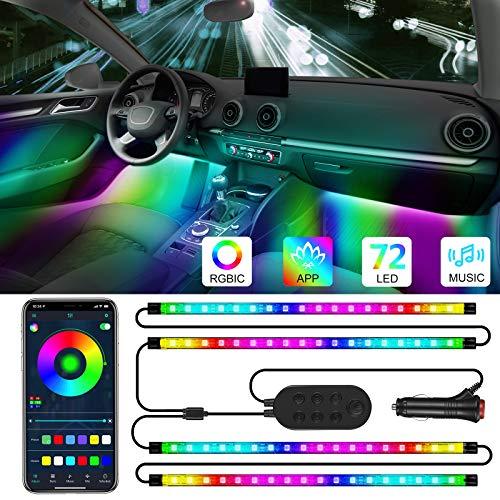 Specell Auto Led innenbeleuchtung, 4pcs 72 LED Auto LED Strip, RGBIC Magie Mehrfarbig Regenbogenfarben Musik Synchronisiert Wasserdicht, APP Steuerbare Ambientebeleuchtung mit Zigarettenanzünder, 12V