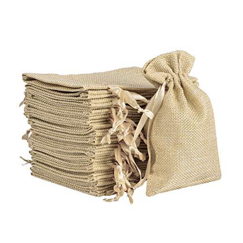 Miavogo Jutesäckchen Säckchen zum Befüllen Jutebeutel Stoffbeutel Basteln Kleine Geschenke für Bonbons Lavendel Kräuter(Beige - 30 Stück, 10,5 x 15,5 cm)