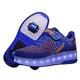 FR&RF Resplandeciente Zapatillas de Deporte de Carga USB Zapatos de Las Muchachas LED Blanca Zapatillas de Deporte de los Zapatos de los Muchachos de los niños con Dos Ruedas,Azul,36
