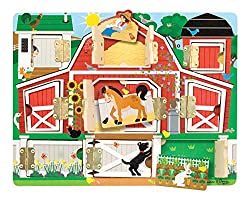 FARM-THEMED MAGNETIC PUZZLE BOARD: The Melissa and Doug Hide and Seek Farm is a magnetic puzzle board with hinged doors that includes 9 doorwaysand magnets. STURDY WOODEN CONSTRUCTION: This Melissa & Doug farm puzzle is made from high-quality materia...
