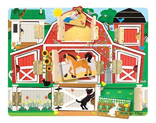 Melissa & Doug | La ferme |Planche Cache | 9 Volets et 9 Magnets à découvrir | Jouet en bois | 2+ ans | Pour garçon ou fille