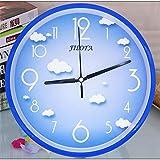 SMAQZ Wanduhr Cartoon niedliche Wanduhr Schlafzimmer Mute Uhr Kindergarten Uhr, Blauer Himmel und...