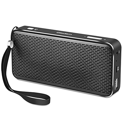 Gladorn Bluetooth Speaker Pocket Size Portable Wireless Speakers Subwoofer Loud Stereo Sound Enhanced Bass Long Playtime with Built-in Mic USB AUX Rechargeable Battery Power Bank (Black)