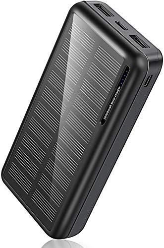 Solar Power Bank 30,000mAh-Minrise Portable Charger, Solar Charger Power Bank with 2 USB Outputs, External Battery Pack for Outdoor Activities Compatible for Smartphones etc.