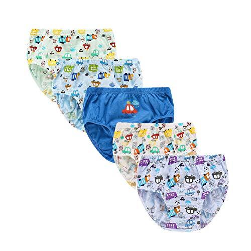 Syrosa - Calzoncillos para niño (algodón, 5 unidades), con dibujos de coches y camiones, color azul, 2-12 años Blanco blanco 2-3 Años