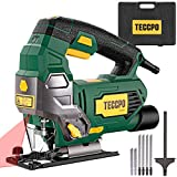 Jigsaw, TECCPO 6.5Amp 3000 SPM Jigsaw Tool with Laser, 6 Variable Speed, Tool-free Switching Angle(-45-45), 6 Blades, Carrying Case, Scale Ruler, Pure Copper Motor - TAJS01P