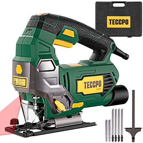 TECCPO Stichsägewerkzeug mit Laser, 6,5 A, 3000 SPM, 6 variable Geschwindigkeiten, werkzeugloser Schaltwinkel (-45°-45°), 6 Klingen, Tragetasche, Skalenlineal, reiner Kupfermotor – TAJS01P