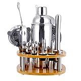 Dosens - Juego de 18 piezas de mezclilla con soporte, 25 oz de acero inoxidable coctelera para el hogar, bar de herramientas perfecto para la experiencia de mezcla de bebidas, rotación de 360 grados