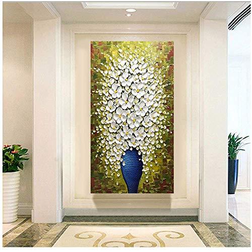 RUIQIN Vaso verticale rettangolo pittura a Olio 3D soggiorno corridoio Camera casa parete Interna Arte Decorativa pittura-60x120cm Senza Cornice