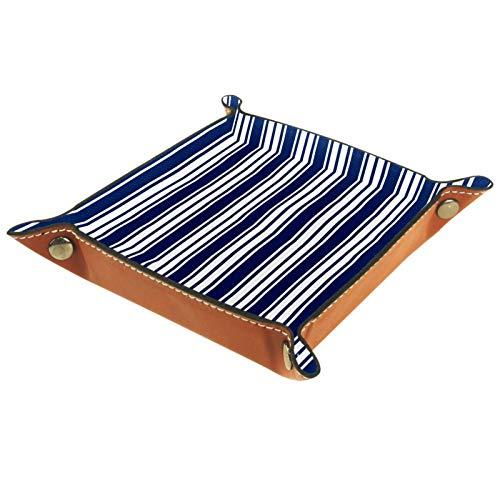 ATOMO Bandeja de almacenamiento de cuero azul con rayas verticales para llaves, joyas, monedas y artículos de almacenamiento