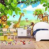 Benutzerdefinierte 3D Wandbild Tapete Löwe Tiger Cartoon Tier Wald Wandmalerei Kinder Kinderzimmer Schlafzimmer Hintergrund Foto Dekoration-140X100cm