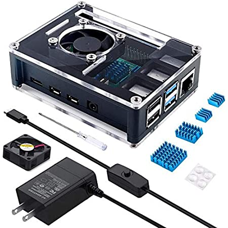 Miuzei 最新 Raspberry Pi 4 ケース ラスベリー パイ4 5.1V 3A USB-C 電源アダプター+冷却ファン+ヒートシンクラズパイ 4 Model B対応(Raspberry Pi 4 本体含まりません)PSE取得