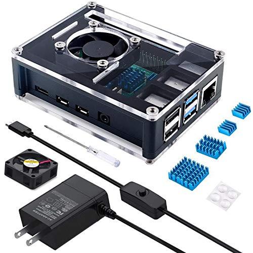 Miuzei 最新 Raspberry Pi 4 ケース ラスベリー パイ4 5.1V 3A USB-C 電源アダプター+冷却ファン+ヒートシンク ラパイ 4 Model B対応(Raspberry Pi 4 本体含まりません)PSE取得
