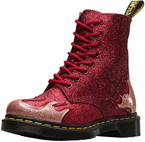 Dr.Martens Damen 1460 Pascal Flame Coated Glitter Synthetic Pink Red Stiefel 36 EU