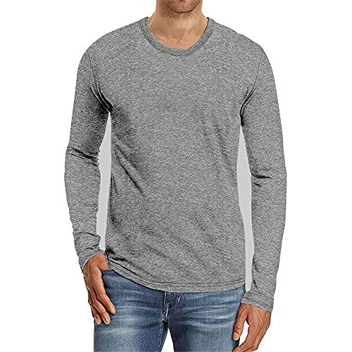 XPDD Mens Casual Basic Henley Long Sleeve Fashion T-Shirt Bottoming Shirt Trend Overshirt Linen Shirts Cotton Casual Tops Dress Shirts Slim Fit Round Neck Sweater Running Gym Tee Tops Sweatshirt Gray