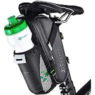 ROCKBROS Bolsa de Sillín Impermeable para MTB Bicicleta Carretera Capacidad Grande con Bolsa para Botella de Agua Negro