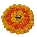 PRAHLL Rangoli Tealight Artificial Marigold Flower of Soft Plastic Mat on Canvas (12 inch,Orange&Dark Orange)