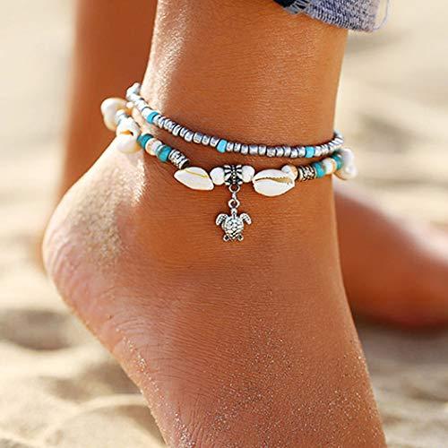 Ushiny Bracelets de cheville en perles Shell Cheville Bracelets Tortue Cheville Ensemble Layered Cheville Chaîne Bijoux Accessoires pour Femmes et Filles
