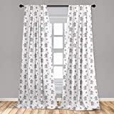 Ambesonne Elephant Nursery Curtains, Baby Elephants Playing with Butterflies Design Pattern, Window Treatments 2 Panel Set for Living Room Bedroom Decor, 56' x 63', Grey Pink