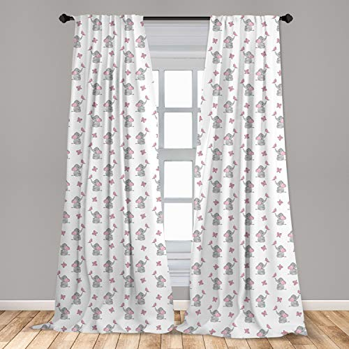 Ambesonne Elephant Nursery Curtains, Baby Elephants Playing with Butterflies Design Pattern, Window Treatments 2 Panel Set for Living Room Bedroom Decor, 56
