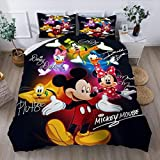 Sheindoo Twin Full Queen King Bedding Mickey Mouse Bedding Set Duvet Cover Set Mickey&Donald Bed Set Bedding Qulit Cover Kids Boys Girls Teens
