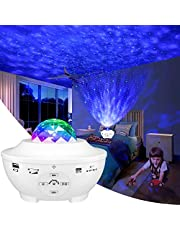 Galaxy Projector Light, LED Star Light Projector Bedroom Night Light Color Changing Lamp Rotating Romantic Star Wave Projector Remote Control Bluetooth USB Music Speaker 10 Color Mode Timer Home Stage