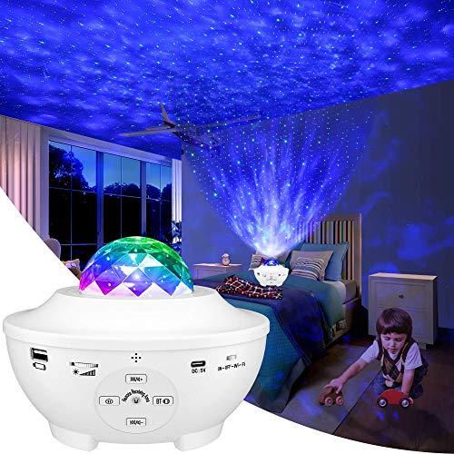 Proyector Estrellas,estrella Nubes Lampara Proyector,10 Modos Proyector de Luz Estelar LED Color Reproductor de Música,Luz Nocturna Giratorio,con Bluetooth/Temporizador/Remoto,Romántica Noche