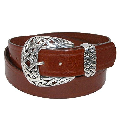 Belt Shak Women's Italian Leather Belt with Celtic Knot Buckle, Xlarge, Rust