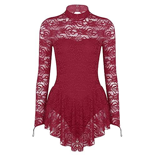 Women's Petite Lingerie Sets Women Elegant Lyrical Dance Dress See Through Lace Leotards Dress-Wine_Red_M