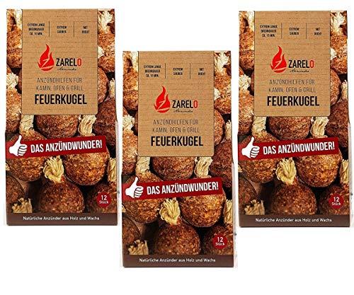 ZARELO Feuerkugel natürlicher Kamin- und Grillanzünder, Extrem Lange Brenndauer, 3 Packungen,100% natürliche Anzünder aus Holz und Wachs, Feuerbällchen mit Docht zum einfachen Anzünden