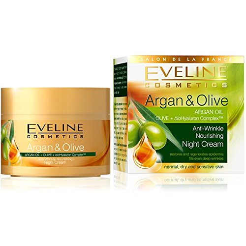 Eveline Cosmetics ARGAN & OLIVE Antiwrinkle Night Cream, 1.69fl oz (50ml) by Eveline Cosmetics